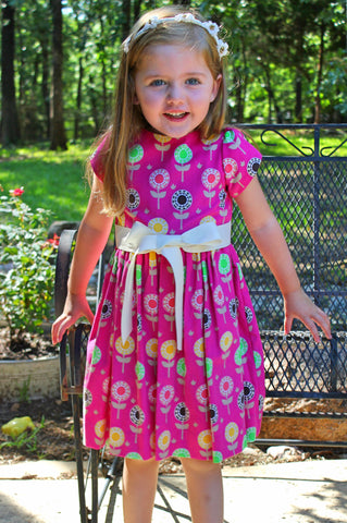 Fuchsia lolly flower corduroy dress