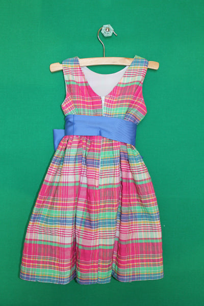 Fuchsia pink madras plaid dress