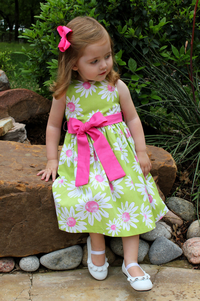 Green and pink floral dress