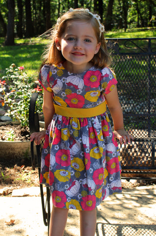 Grey and fuchsia flower corduroy dress