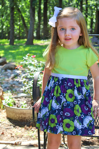 Lime with navy floral print corduroy dress