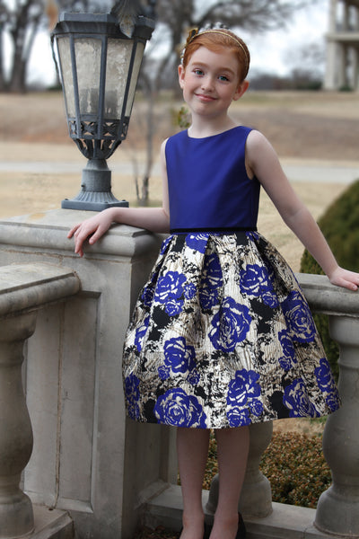 Solid bodice with royal brocade skirt