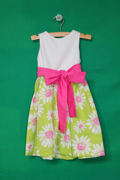 White bodice with green and pink flower skirt