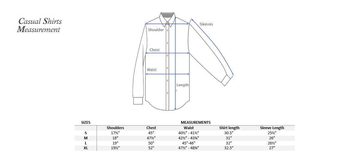 Casual Shirts measurements