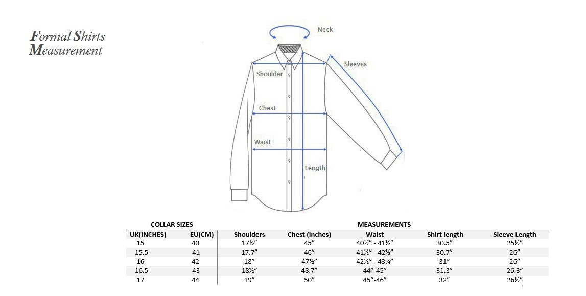 Formal shirt measurement with UK/EU size conversion
