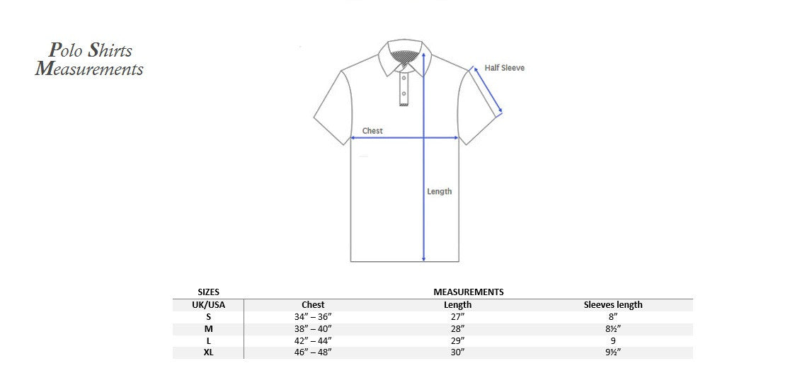 Polo shirts measurements