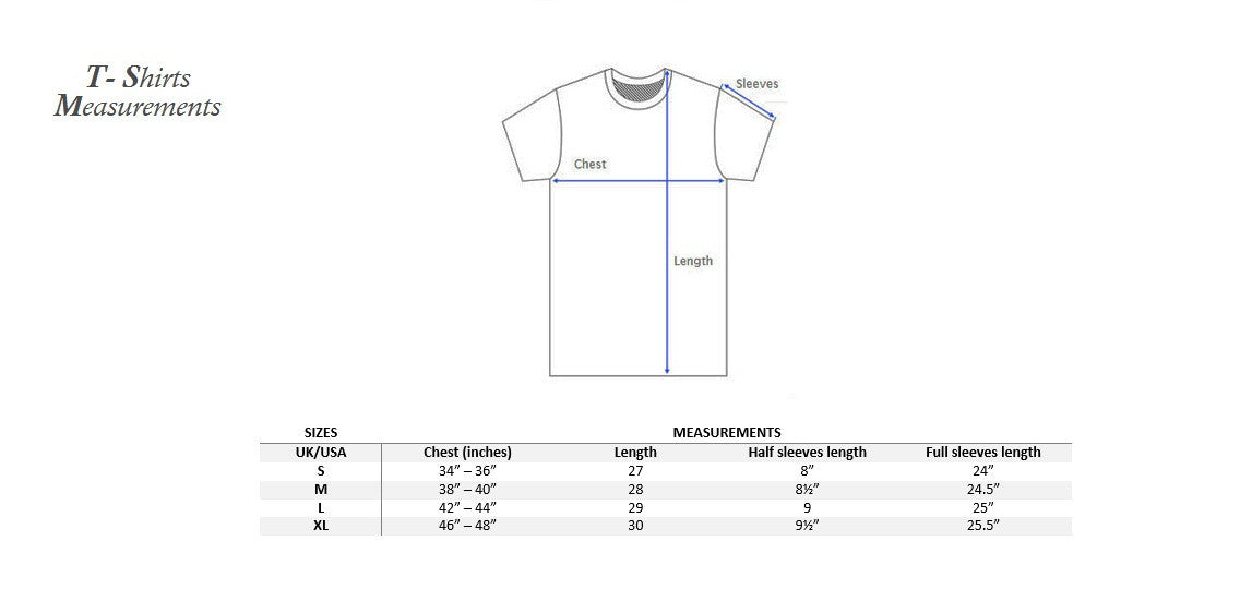 T-shirts measurements