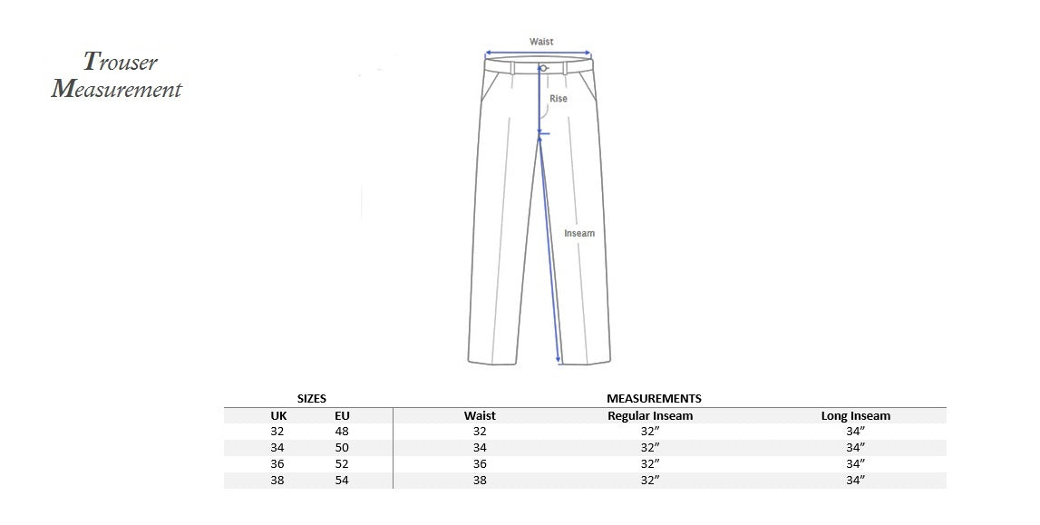 Trouser measurement with UK/EU size Conversion