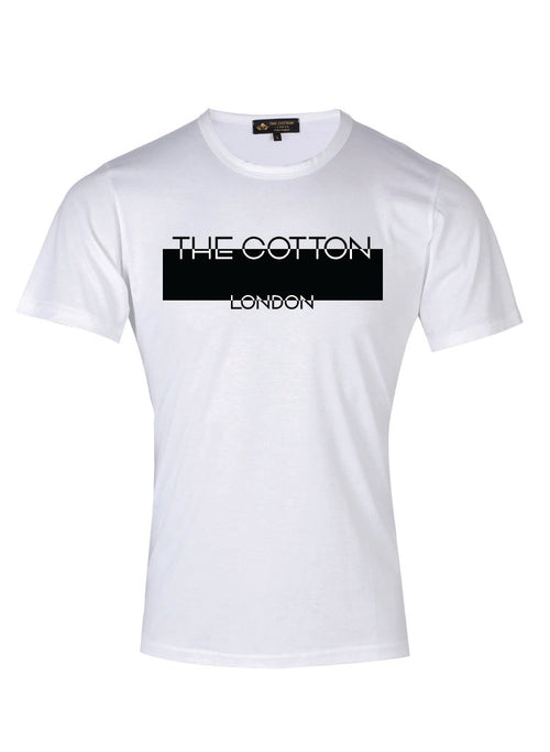 The Cotton London's brand name printed in white & black on a White T-shirt.