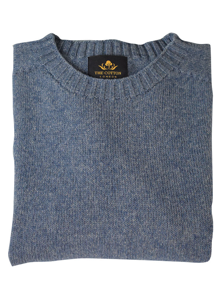 Wool X Cotton Blend Crew Neck Jumper - Denim
