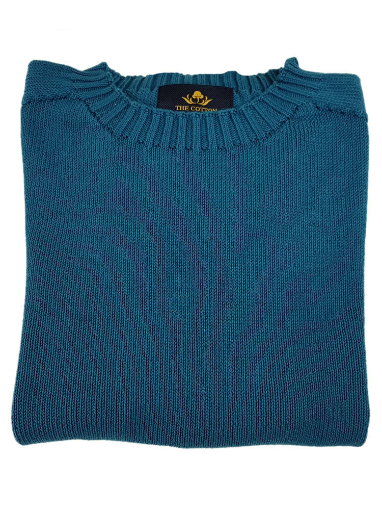 Pure Dakota Cotton Crew Neck Jumper - Blu Prussia