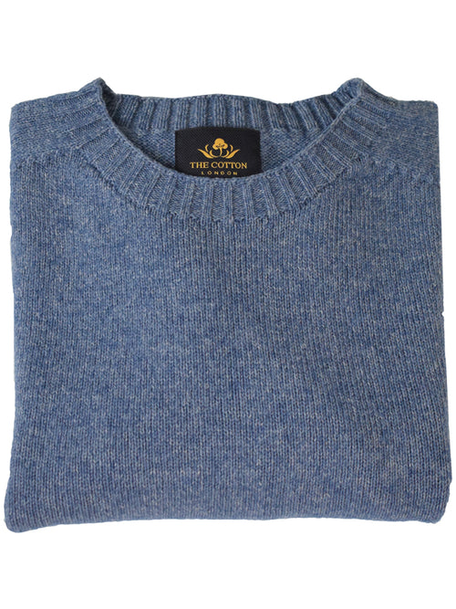 61c504c83 Wool X Cotton Blend Crew Neck Jumper - Sapphire