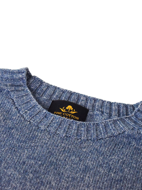 Wool X Cotton Blend Crew Neck Jumper - Sapphire