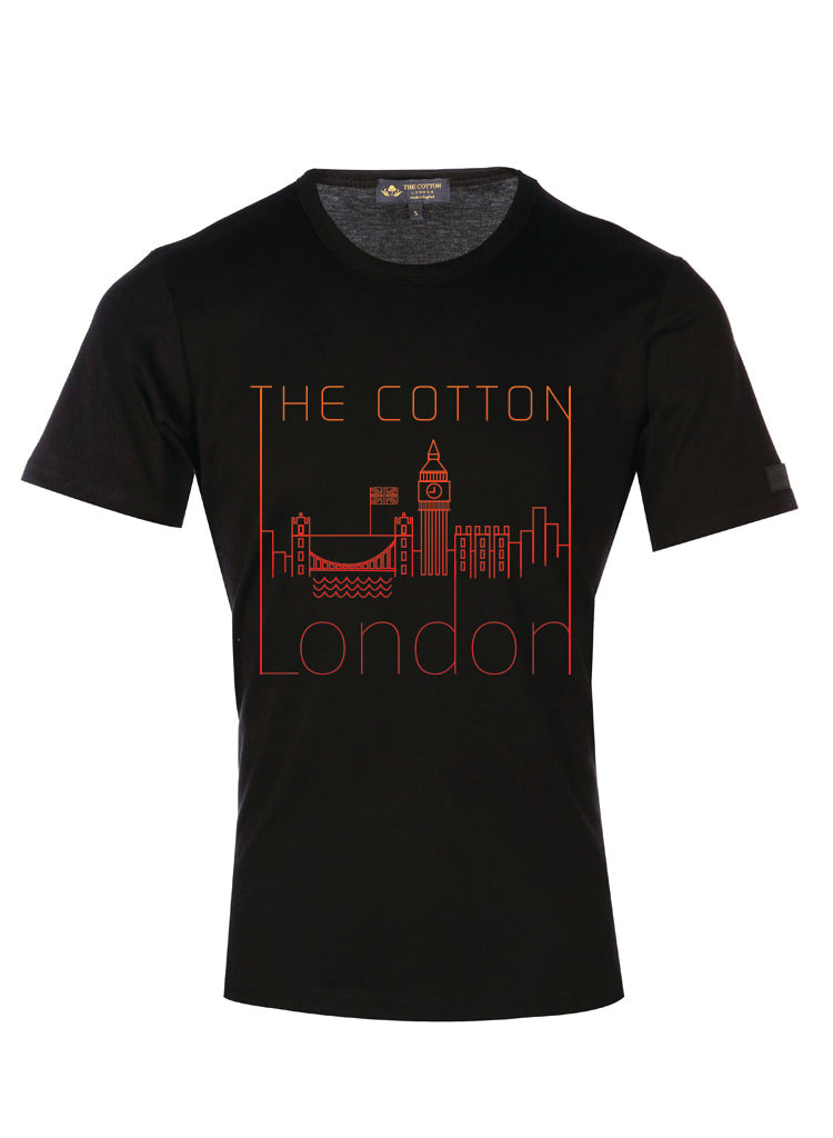 London city silhouettes printed on a cotton Black T-shirt with red accent.