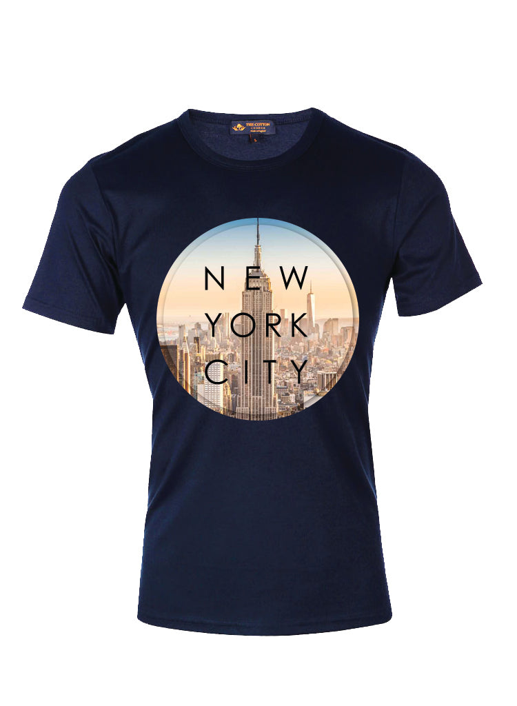 TCL Supima Cotton Graphic Slogan NY Navy T-shirt
