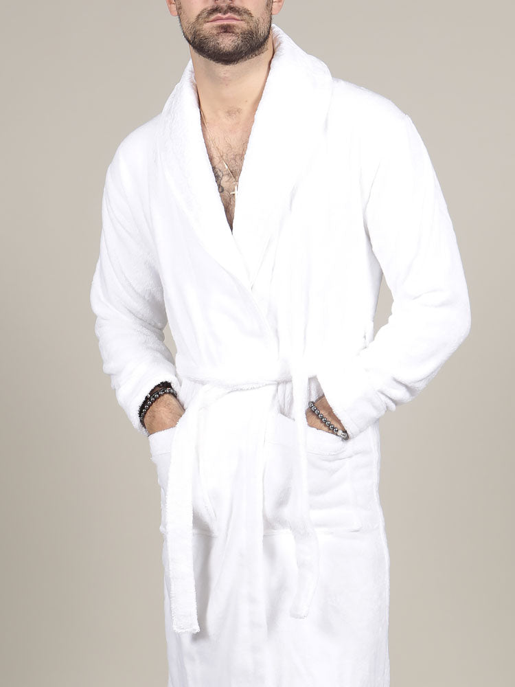 Model wearing luxurious white cotton bathrobe