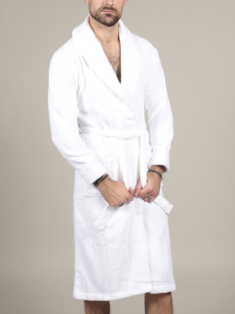 Model wearing Turkish cotton bathrobe