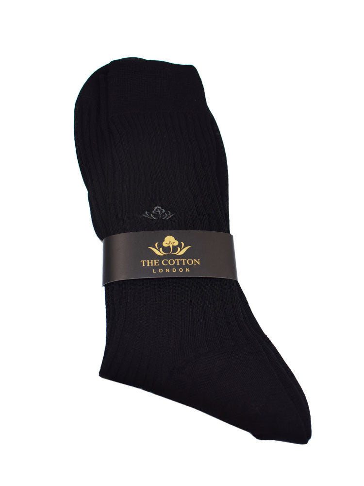 COTTON LISLE TAILORED SOCKS - BLACK