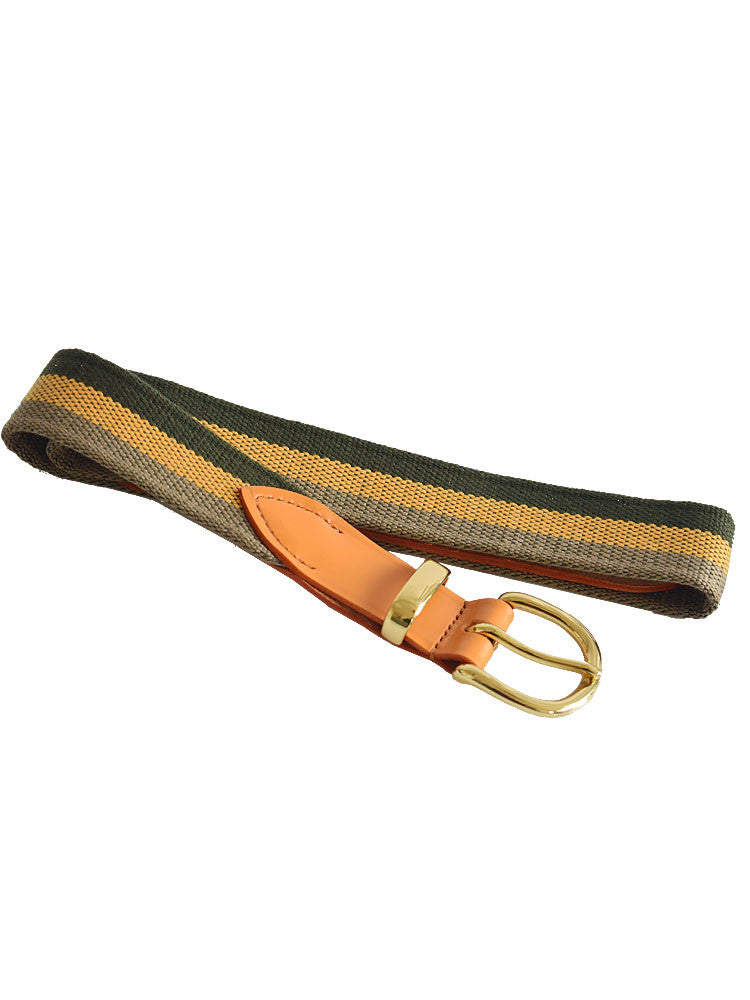Butternut and Grey Stripes Woven Canvas Belt