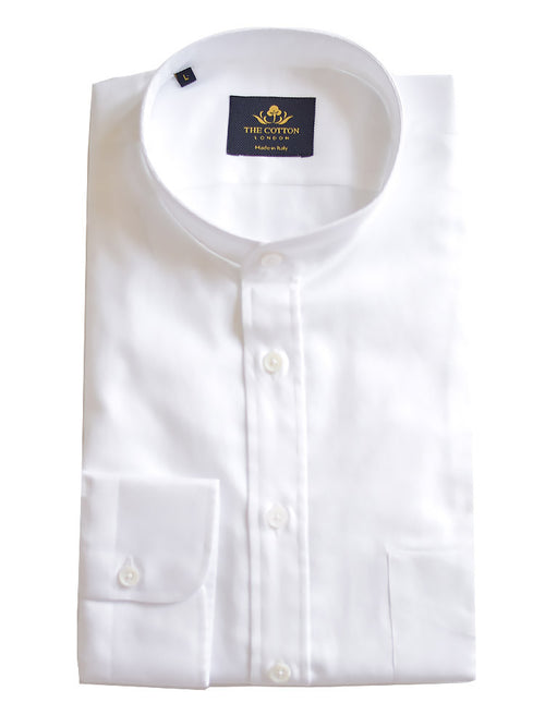 Canclini White Band Collar Shirt