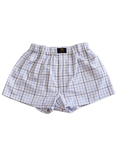 Chequered pure cotton boxers in black & blue