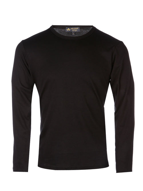 Supima Cotton Long Sleeve Crew Neck - Black t-shirt