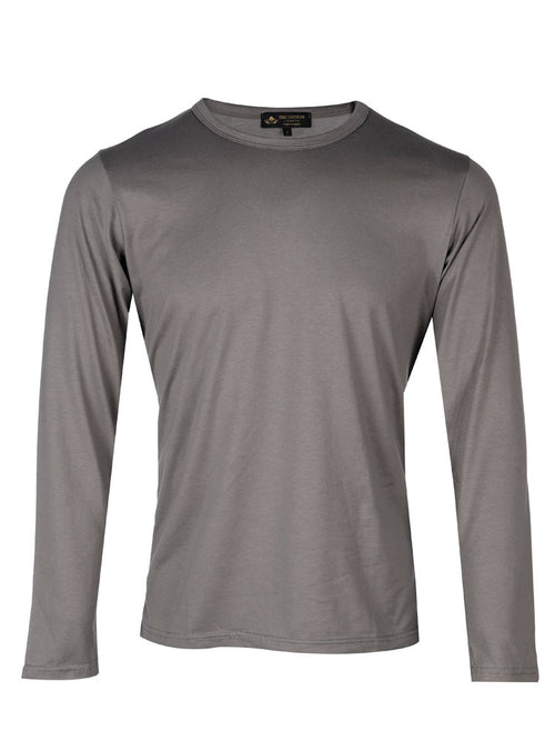 Supima Cotton Long Sleeve Crew Neck - Grey t-shirt