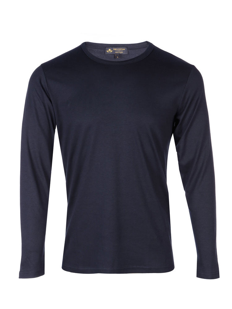Supima Cotton Long Sleeve Crew Neck - Navy t-shirt