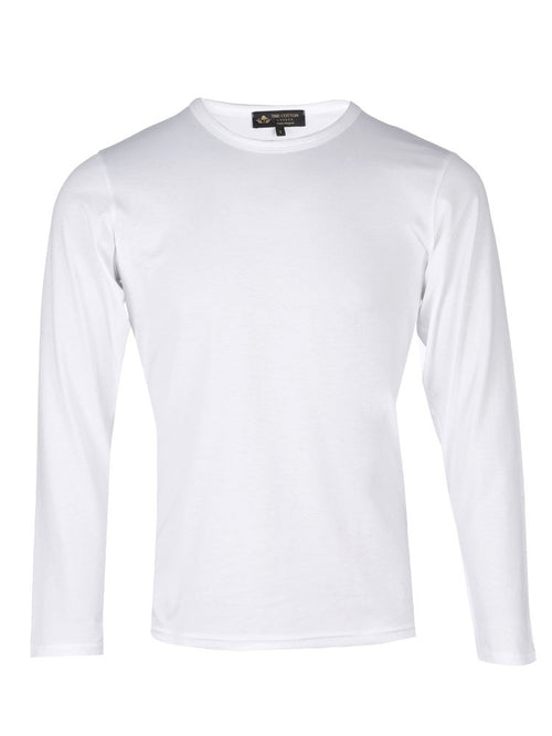Supima Cotton Long Sleeve Crew Neck - White t-shirt