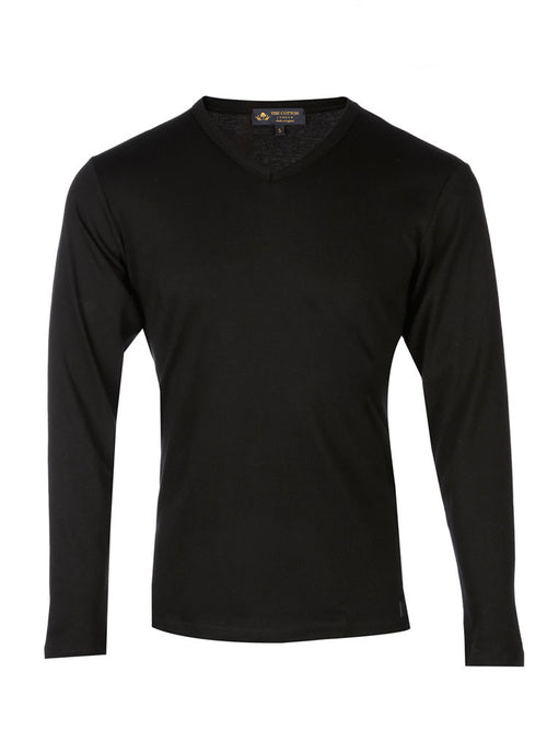 Supima cotton Long Sleeve V Neck - Black t-shirt