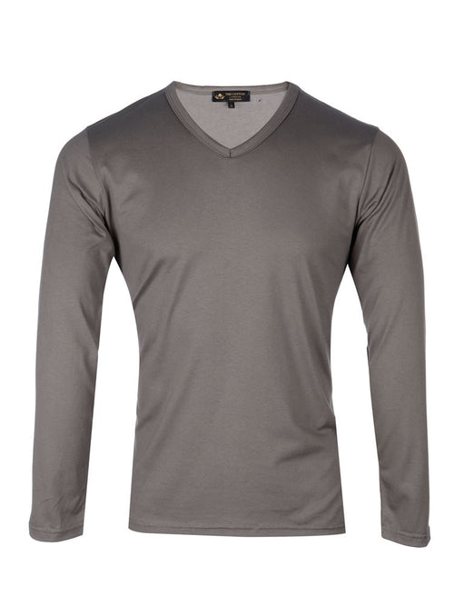 Supima cotton Long Sleeve V Neck - Grey t-shirt