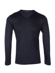 Supima cotton Long Sleeve V Neck - Navy t-shirt