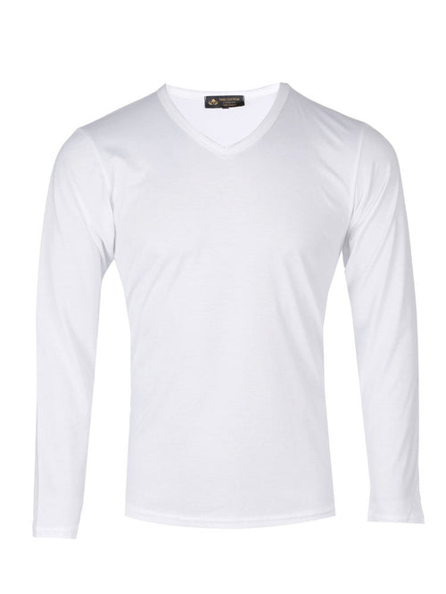Supima cotton Long Sleeve V Neck - White t-shirt