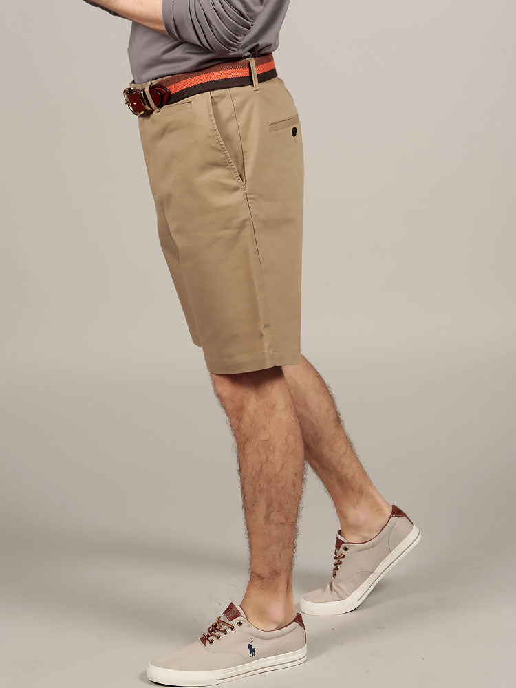 Side view of slim fit Italian chino shorts