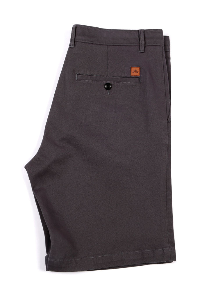 Side view of Italian Chino shorts - Charcoal grey