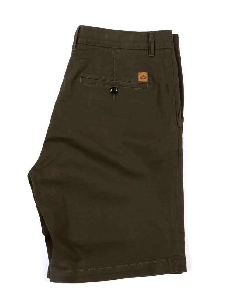 Side view of Italian Chino shorts - Olive Green
