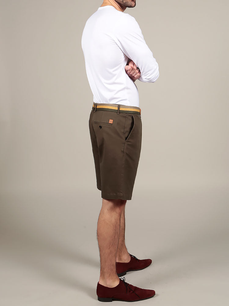 Olive green Italian slim fit chino shorts