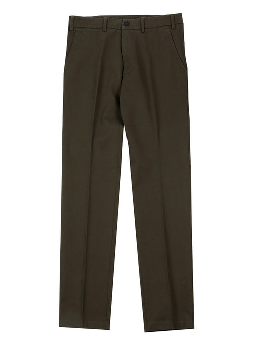 SLIM FIT ITALIAN COTTON CHINO TROUSERS – OLIVE GREEN