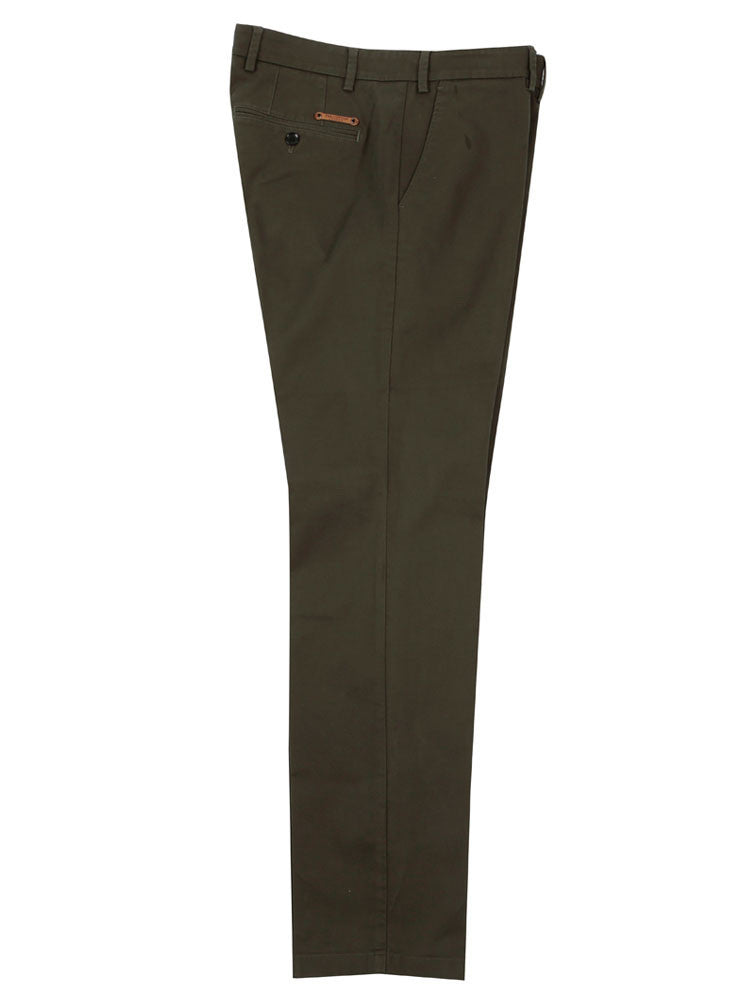 Side view of Italian Chino trouser - Olive Green