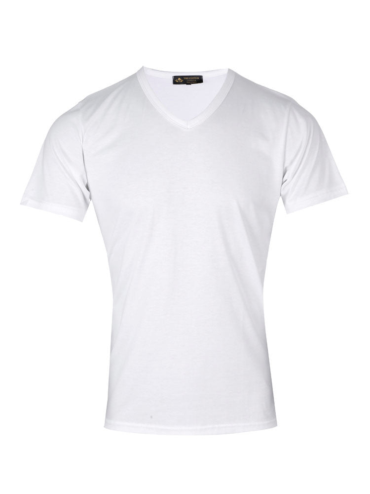 Supima cotton Short Sleeve V Neck - White t-shirt