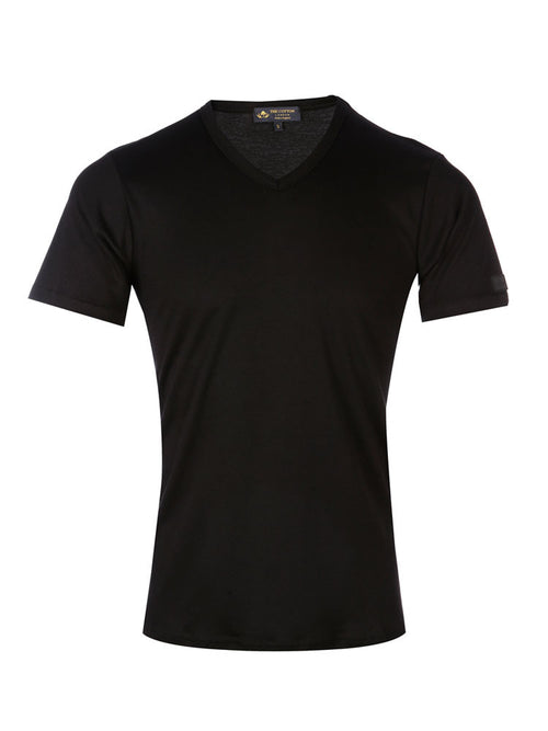 Supima cotton Short Sleeve V Neck - Black t-shirt