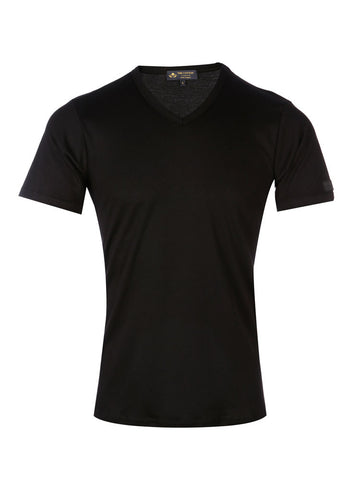 Supima Cotton black V-neck short sleeves t-shirt