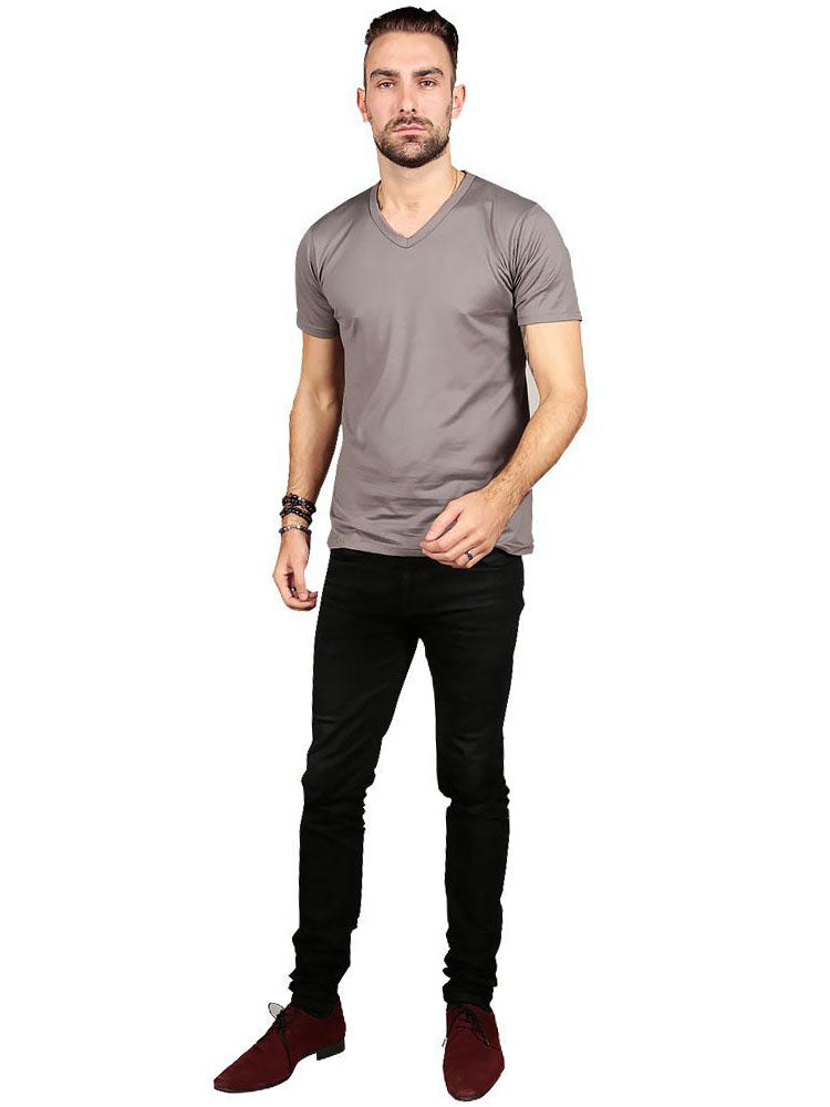 Male model wearing Supima cotton Short Sleeve V Neck - Grey t-shirt