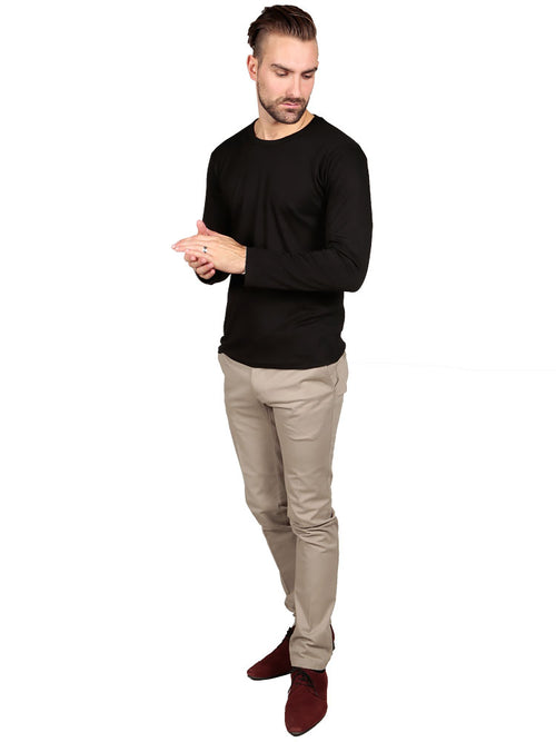 Model wearing Long Sleeve Crew Neck - Black Supima T-shirt