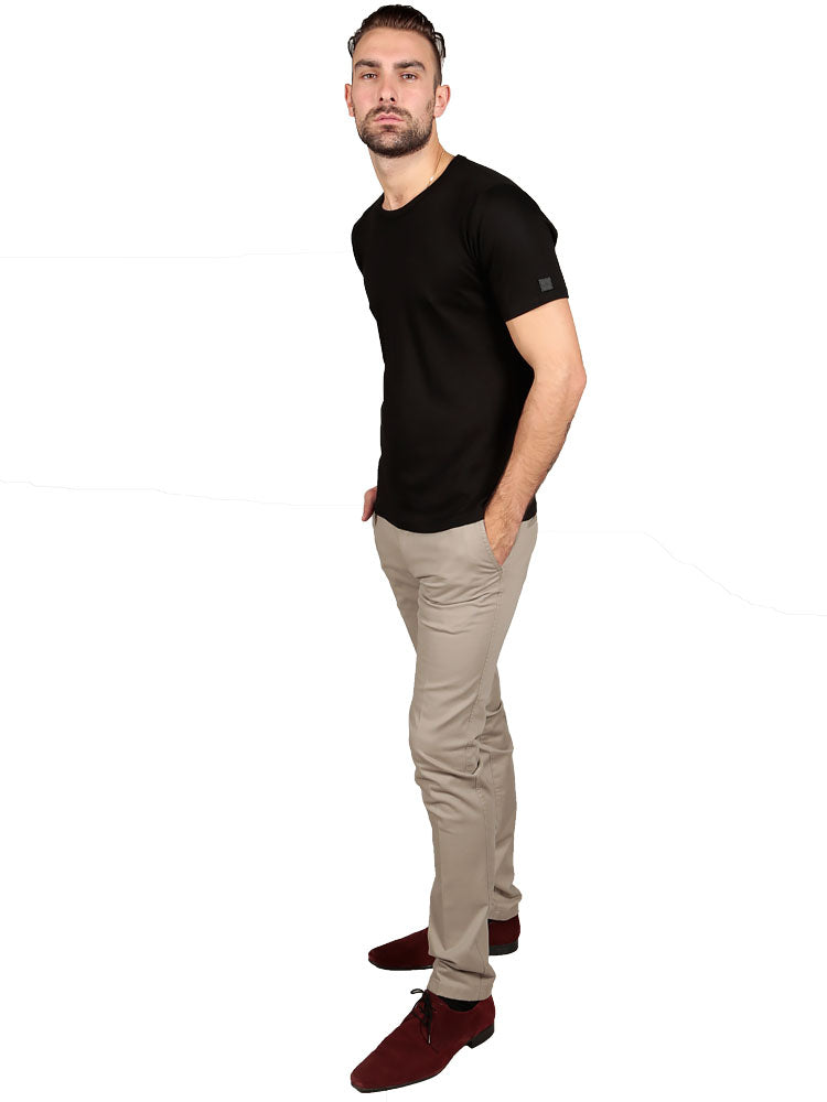 Model wearing Supima Cotton Short Sleeve Crew Neck T-shirt - Black t-shirt