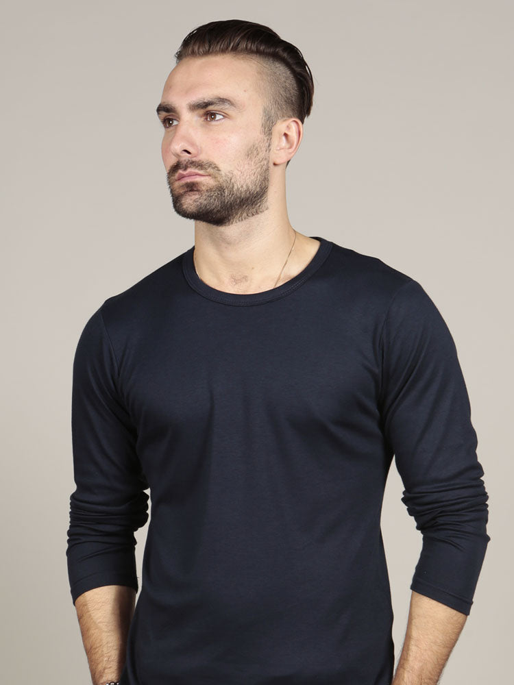 Long Sleeve Crew Neck - Navy Supima T-shirt