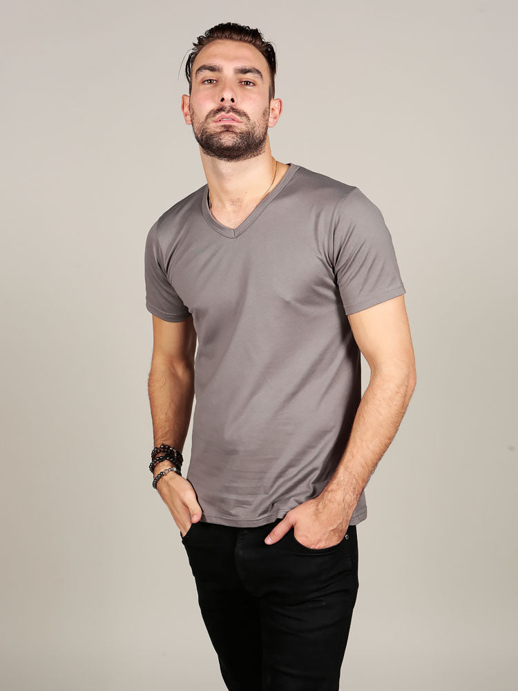 Supima cotton Short Sleeve V Neck - Grey t-shirt