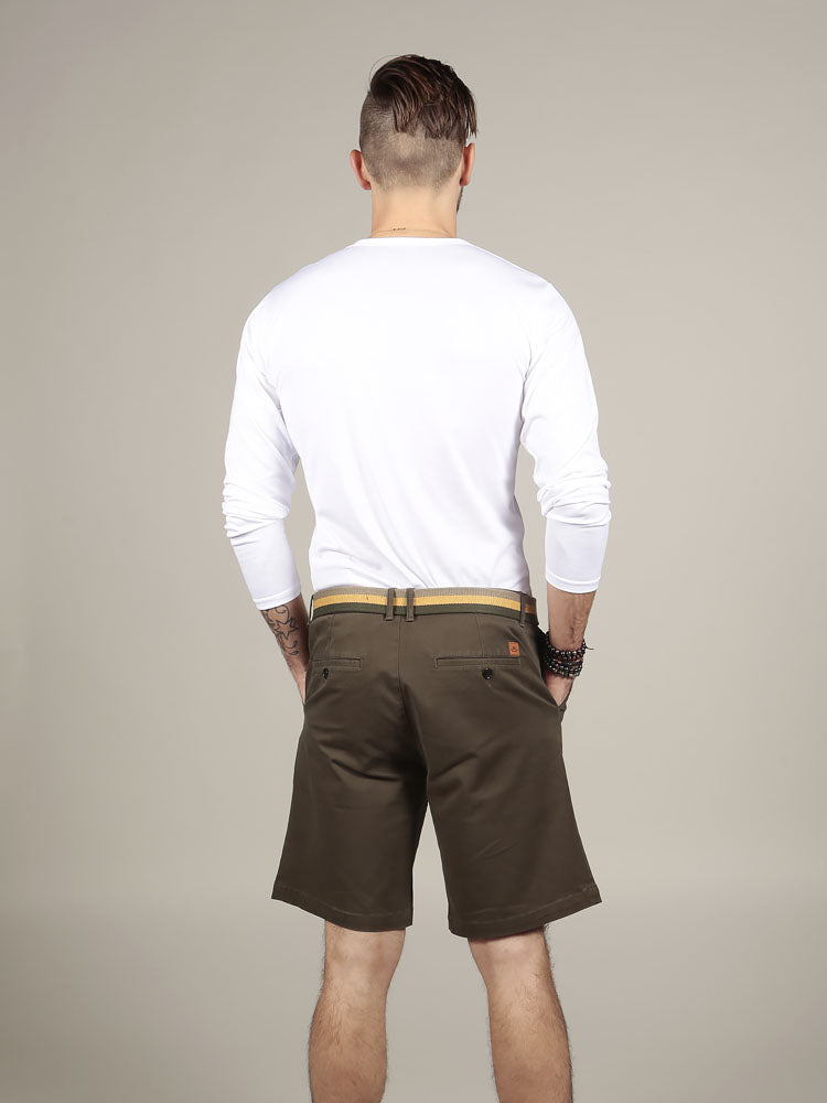 Back view of white cotton t-shirt with chino shorts