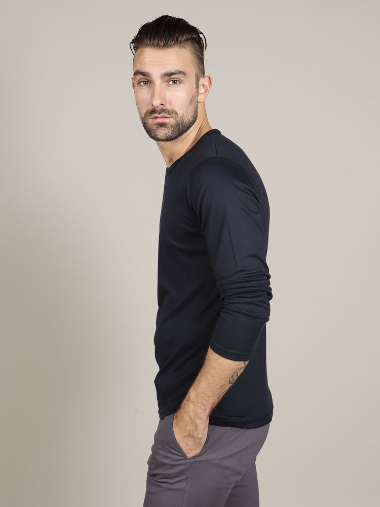 Navy cotton t-shirt with grey chino trousers