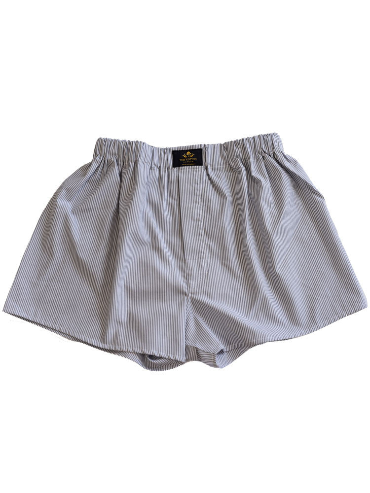 STRIPED COTTON BOXERS - GREY